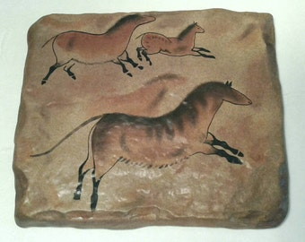 Cave Painting Plaque Running Horses The Dawn of Man Stoneware Wall Hanging Hand Painted Replica Prehistoric Art Wild Bradford Exchange