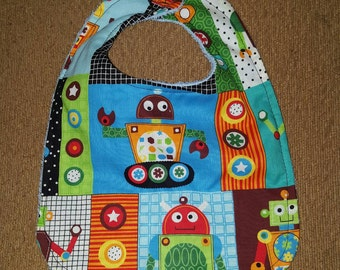 Handmade Large Colorful Robots Baby Boy Bib Cotton Terry Cloth