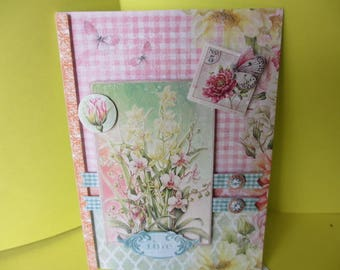 Card 3D (relief) white, pink orchids and butterflies