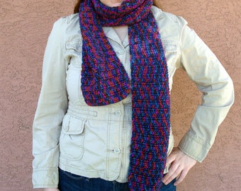 Harlequin Scarf, Crochet Scarf for Women, Multicolor Scarf in Pink, Teal, Orange, Brown - Hoooked Scarves MADE TO ORDER