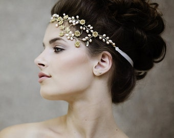 Rustic Wedding Headpiece - Crystal Bridal Headpiece - Bohemian Bridal Headpiece  - The Leilani Couture Headpiece style #116
