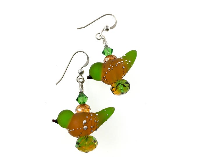 Featured listing image: Lampwork Earrings, Bird Glass Bead Earrings, Dangle Earrings, Fun Earrings, Glass Bead Jewelry, Unique Animal Earrings, Lampwork Jewelry