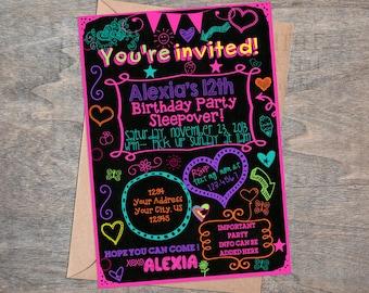 Girl  Tween Teen Sleepover chalkboard birthday invitation  Digital &printable Glow party neon doodle slumber party invite
