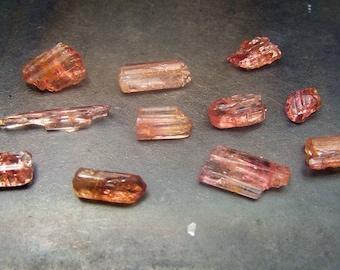 ONE Etched Peach Tourmaline  Crystal - 1 single Peach Tourmaline Crystal - rubellite wire wrap stone Pink Tourmaline Orange Tourmaline