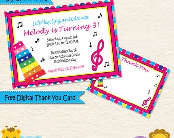 Music Birthday Party Invitation Music Theme Invitation
