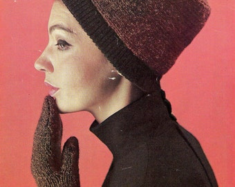60s Knitting & Crochet Booklet Patons 725 Vintage RETRO 10 ply patterns for Hat Cardigan Stole Mittens Sweaters