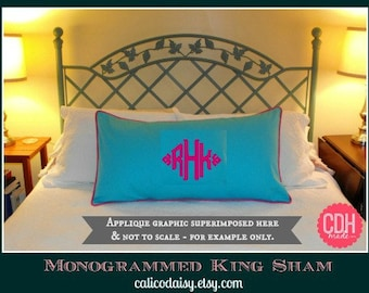 The South Pointe Applique Monogrammed King Pillow Sham - SET of Two - King 20 x 36