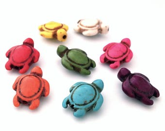 X 8 turtles dyed Howlite 17x14mm