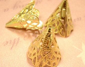 12pc 20x17mm gold finish filigree bead caps-816