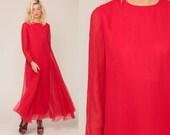 Red Chiffon Dress Long Party 1970s Maxi Draped Red Maxi Dress 70s Boho TRAPEZE Tent Prom Goddess Formal Vintage Long Sleeve Medium