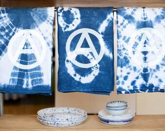 Indigo Shibori Flour Sack Anarchy Towels