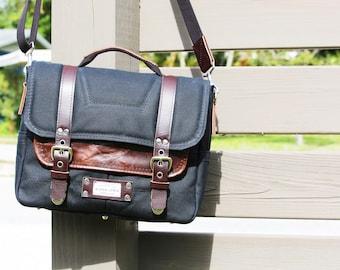 Black Waxed Canvas Messenger bag - laptop bag handmade by Alex M Lynch - 010086