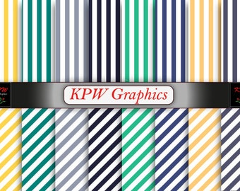 Rainbow Stripes Digital Printable Scrapbook Papers, Personal & Small Commercial use (0065)