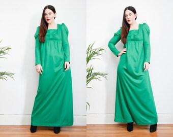 Vintage Green Boho Puff Sleeve Hippie Maxi Dress 70's