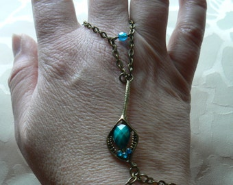 Chain bronze, handmade jewelry Bohemian jewelry * my Bohemian Peacock feather *, Bronze, Stass Demi-Cabochon, blue, Turquoise.