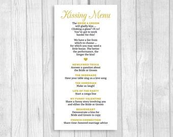 SALE Printable 8x4 Wedding Kissing Menu - Custom Colors and Wording Available - Digital Download - Wedding Reception Game