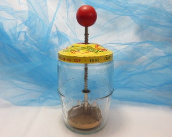 Vintage Food Chopper with Yellow Lid with Green and Red Vegetables On It Red Wood Knob Measuring Cup