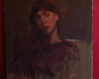 18 x 22 portrait of a girl oil on canvas 1960's