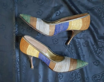 Unique vintage pumps, 1950s, striped boucle with metallic trim and heel, midcentury, with original shoebox, women's size 7