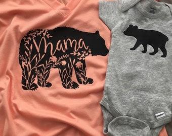 Mama bear shirt with matching onesie