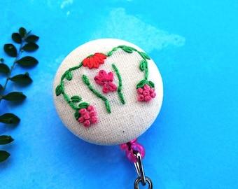Uterus ID badge reel   hand embroidered ob/gyn ID badge holder, nurse gift, uterus badge holder, floral uterus design, embroidered uterus