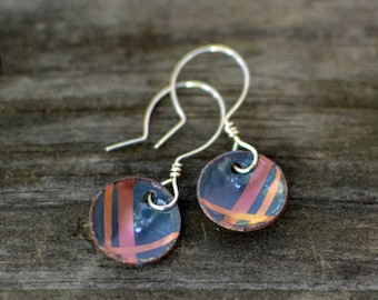 copper plaid enameled earrings