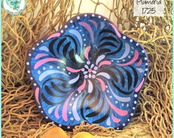 Plumeria Bowl, Abstract Flower Design, Handpainted Wood Art Bowl, *black, lavender, blues* #1725