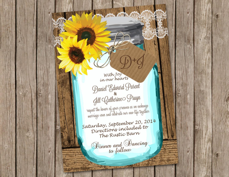 Cottage Mason Jar Wedding Invitation: Sunflower Wedding Invitation With Shabby Wood And Mason Jar