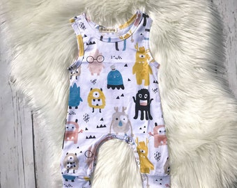 Infant Toddler Cute Monster Romper / Boutique/ 100% organic cotton / Boys Romper / Little Monster / Hipster Boy Clothing / Birthday Outfit
