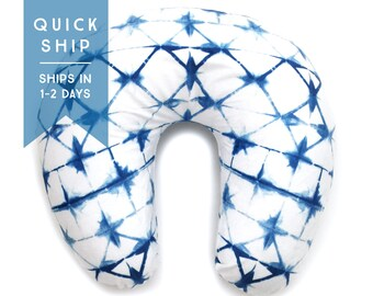 Nursing Pillow Cover Indigo Shibori. Nursing Pillow. Nursing Pillow Cover. Blue Nursing Pillow Cover.