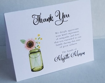 Rose tournesol sympathie reconnaissance cartes de remerciement - personnalisé et des cartes personnalisées pour les funérailles de deuil deuil note remerciement