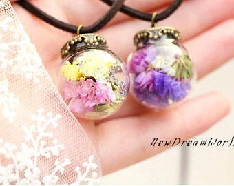 Hand blown glass ball necklace with dried flowers filled with dried blossom,tiny necklace,glass vial pendant