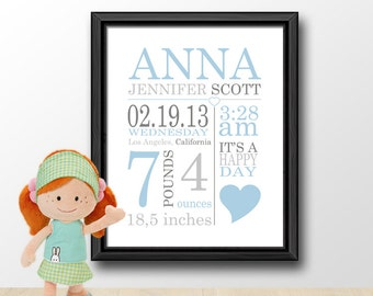Birth announcement navy gray personalized baby boy gifts personalized baby boy gifts baby birth announcement boy newborn baby boy print birth negle Image collections
