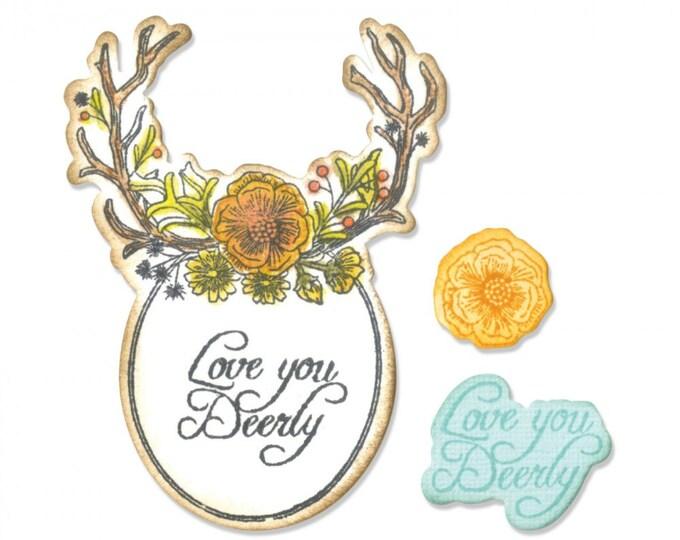 Sizzix Framelits Die Set 5PK w/Stamps - Sweet Deer by Jen Long 661132