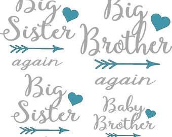Sibling and New Baby iron on decals only, shirts not provided, do  it yourself