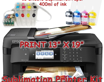 Epson WF-7710 Sublimation Printer Bundle with CISS Kit, Sublimation Ink & Paper