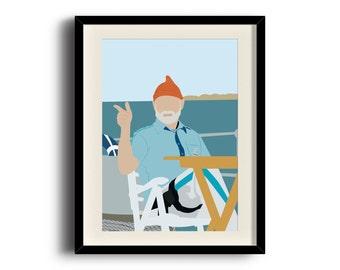 The Life Aquatic with Steve Zissou, Steve Zissou minimalist poster, Framed print, Matted print, Mounted print