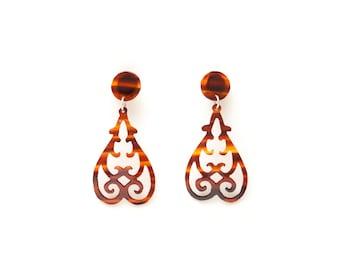 Handmade flamenco tortoise shell earrings