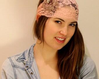 pink lace headband, women Headband, Women's turban Headband, Hair Wrap, Head Wrap,  Elastic headband, pink Turband, BUY 3 GET 1 FREE