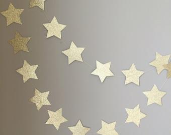 Twinkle Twinkle Little Star Gold Glitter Star Garland, First Birthday Decor, Baby Shower, Gold Star Decoration, Birthday Decor, Gold