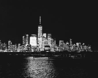 Moon over Manhattan - Print in Black and White or Color Version