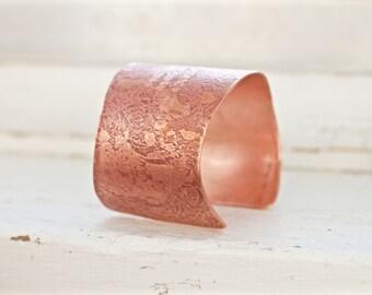 Seven Year Wedding Anniversary Copper Cuff Bracelet, 7th Year Copper Anniversary Gift for Her, Chunky Copper Cuff, Unique Copper Gift Ideas