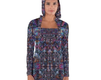 Wild Bursting Dreams, All-over print) Long Sleeve Hooded T-shirt