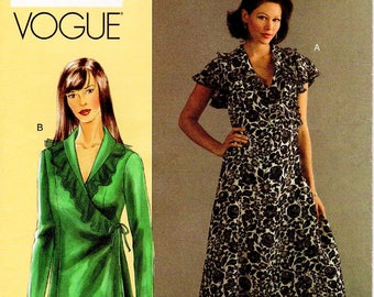 "Sz 38"" to 43"" Bust - Vogue Dress Pattern V8186 - Today's Fit by SANDRA BETZINA - Misses' Ruffled Neckline Wrap Dress or Top - Vogue Patterns"