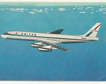 1960s Chrome Postcard- Transportation- Advertising- United Airlines, Aircraft DC-8 Jet Mainliner ~ Free Shipping