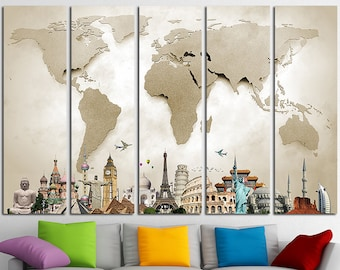 World map canvas art world map canvas map canvas world map world map canvas print wall art multi panel world map wall decor world map print old gumiabroncs Image collections