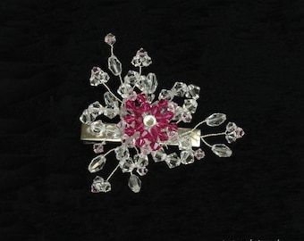 Crystal with pink flower hair clip