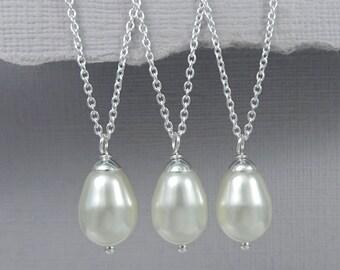 Drop Pearl Necklace, Bridesmaid Pearl Necklace, Bridesmaid Necklace, Wedding Necklace, Ivory Pearl Necklace, Bridesmaid Gift Set