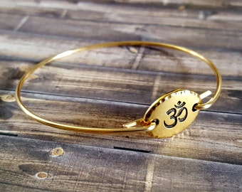 Om Bangle Bracelet, Stackable Bracelet, Bridesmaid Gift Idea, Yoga Style, Yoga Jewelry, Stackable Jewelry, Bangle Bracelet, Arm Candy