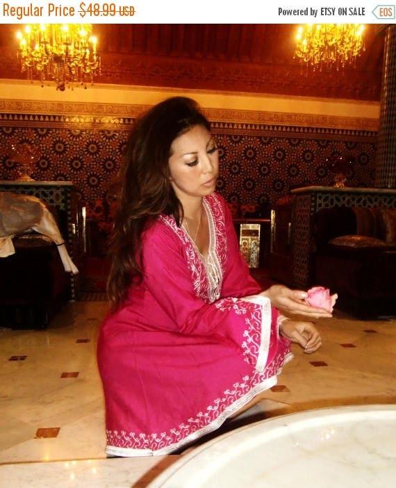 KAFTAN 20% SALE/ Pink Tunic Dress Marrakech Tunic- Casual wear, loungewear, resortwear, wedding gift, honeymoon wear, bohemian wear, birthda